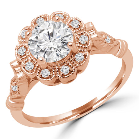 Round Cut Diamond Multi-Stone 4-Prong Floral Halo Engagement Ring with Round Diamond Accents in Rose Gold - #BIJOU-R