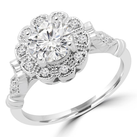 Round Cut Diamond Multi-Stone 4-Prong Floral Halo Engagement Ring with Round Diamond Accents in White Gold - #BIJOU-W