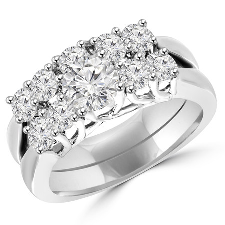 Round Cut Diamond Multi-Stone 4-Prong Trellis-Set Engagement Ring & Wedding Band Bridal Set in White Gold - #HR7002-A-B-SET-W