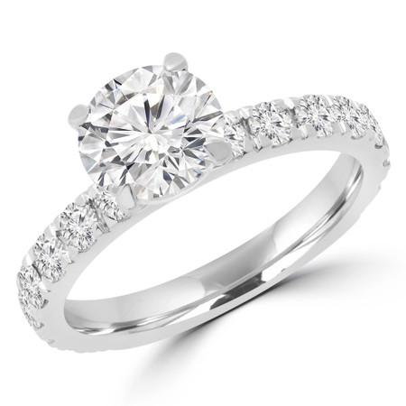 Round Cut Diamond Multi-Stone 4-Prong Engagement Ring with Round Diamond Accents in White Gold - #ELIBY-W
