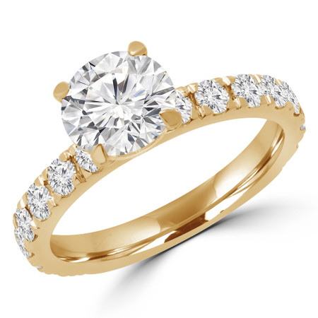 Round Cut Diamond Multi-Stone 4-Prong Engagement Ring with Round Diamond Accents in Yellow Gold - #ELIBY-Y