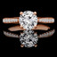 Round Cut Diamond Multi-Stone 4-Prong Engagement Ring with Round Diamond Accents in Rose Gold - #JEANNE-R