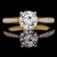Round Cut Diamond Multi-Stone 4-Prong Engagement Ring with Round Diamond Accents in Yellow Gold - #JEANNE-Y