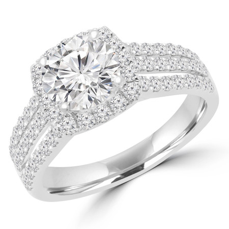 Round Cut Diamond Multi-Stone 4-Prong Halo Engagement Ring in White Gold - #OLIVIA-W