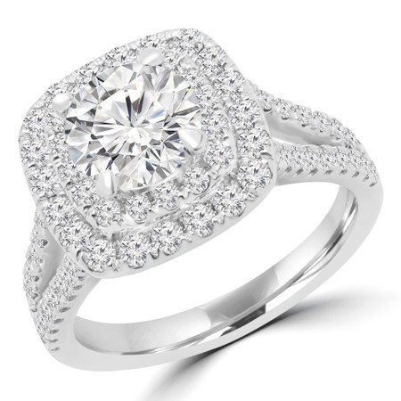 Round Cut Diamond Split Shank Double Halo 4 Prong Multi Stone Engagement Ring in White Gold - #VEGAS-W
