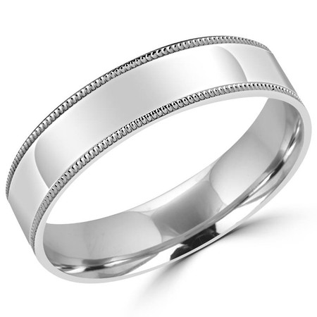 5.0 MM Brushed & Polished Milgrain Mens Comfort Fit Wedding Band Ring in White Gold - #J109-W