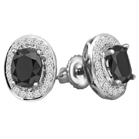 Oval Cut Black Diamond Multi-Stone 4-Prong Halo Stud Earrings with Round White Diamond Accents & Screwbacks in White Gold - #IEOH3254-W-BLK