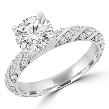 Round Cut Diamond Multi-Stone 4-Prong Engagement Ring with Round Diamond Accents in White Gold - #APIA-W