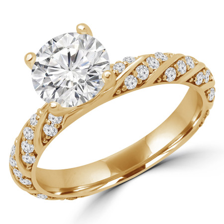 Round Cut Diamond Multi-Stone 4-Prong Engagement Ring with Round Diamond Accents in Yellow Gold - #APIA-Y