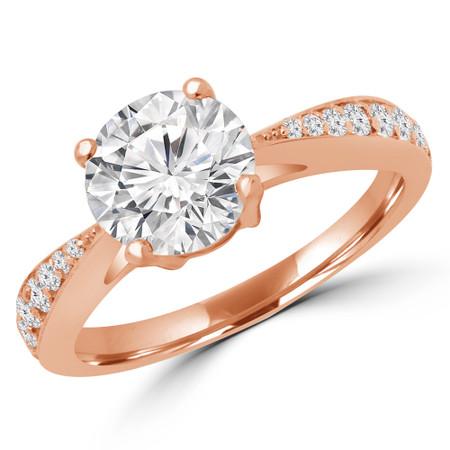 Round Cut Diamond Multi Stone 4-Prong Engagement Ring in Rose Gold - #PRAIA-R