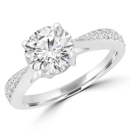 Round Cut Diamond Multi Stone 4-Prong Engagement Ring in White Gold - #PRAIA-W