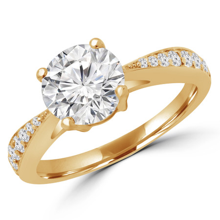 Round Cut Diamond Multi Stone 4-Prong Engagement Ring in Yellow Gold - #PRAIA-Y