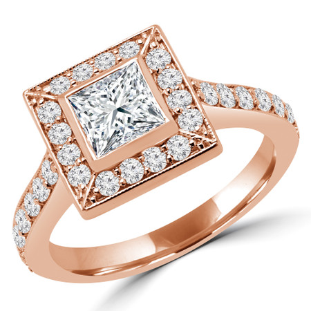 Princess Cut Diamond Multi-Stone Bezel-Set Halo Engagement Ring with Round Diamond Accents in Rose Gold - #AMEDE-R