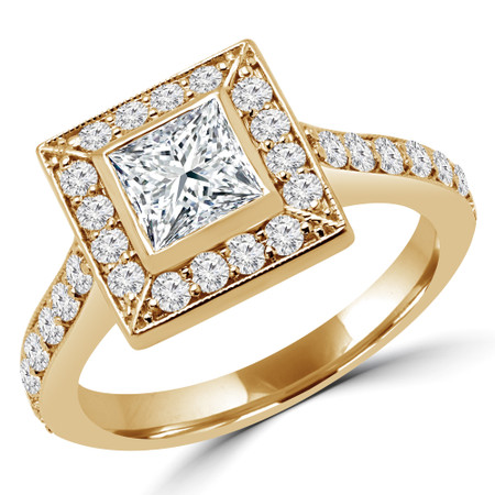 Princess Cut Diamond Multi-Stone Bezel-Set Halo Engagement Ring with Round Diamond Accents in Yellow Gold - #AMEDE-Y