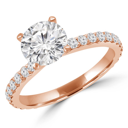 Round Cut Diamond Multi-Stone 4-Prong Engagement Ring with Round Diamond Accents in Rose Gold - #ANKARA-R