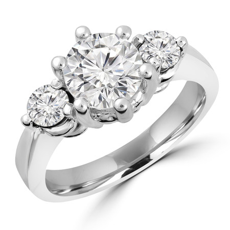 Round Cut Diamond Three-Stone 6-Prong Engagement Ring in White Gold - #IMP-R-A-W