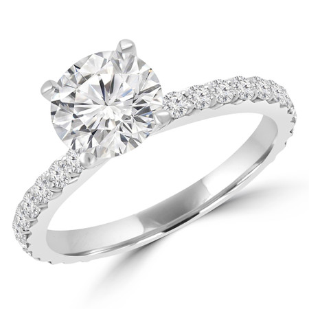 Round Cut Diamond Multi-Stone 4-Prong Engagement Ring with Round Diamond Accents in White Gold - #ANKARA-W