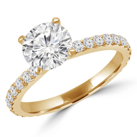 Round Cut Diamond Multi-Stone 4-Prong Engagement Ring with Round Diamond Accents in Yellow Gold - #ANKARA-Y