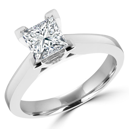 Princess Cut Diamond Solitaire V-Prong Engagement Ring in White Gold - #IMP-R-B-W