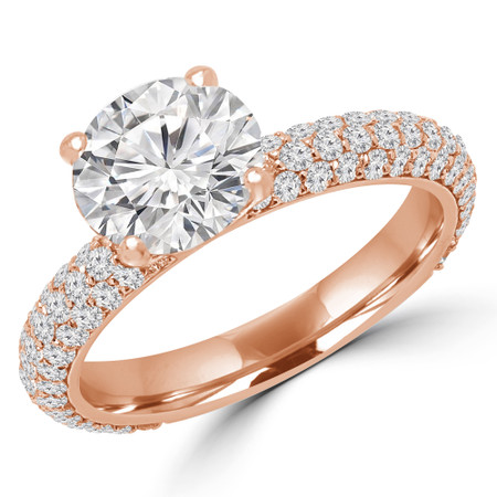 Round Cut Diamond Multi-Stone 4-Prong Engagement Ring with Round Diamond Accents in Rose Gold - #GIZA-R