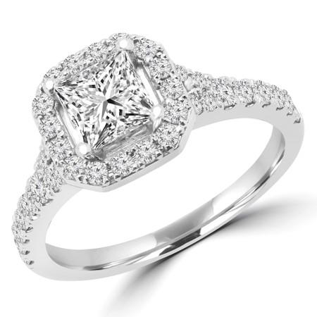 Princess Cut Diamond Cushion Halo 4-Prong Multi Stone Engagement Ring in White Gold - #YSIA-W