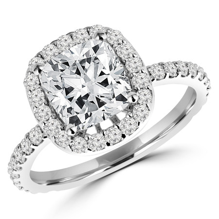 Cushion Cut Diamond Multi-Stone 4-Prong Halo Engagement Ring with Round Diamond Accents in White Gold - #IMP-R-N-W-CU