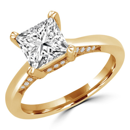 Princess Cut Diamond Multi-Stone 4-Prong Engagement Ring with Round Diamond Accents in Yellow Gold - #JULIETTE-Y