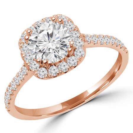 Round Cut Diamond 4 Prong Cushion Halo Multi Stone Engagement Ring in Rose Gold - #STEPH-R
