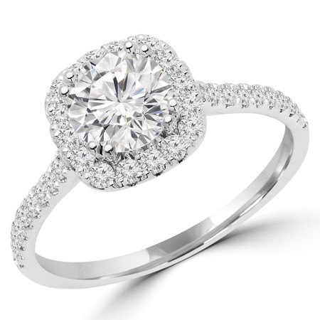 Round Cut Diamond 4 Prong Cushion Halo Multi Stone Engagement Ring in White Gold - #STEPH-W