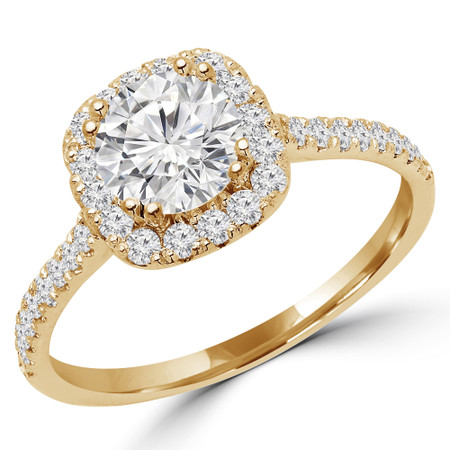 Round Cut Diamond 4 Prong Cushion Halo Multi Stone Engagement Ring in Yellow Gold - #STEPH-Y