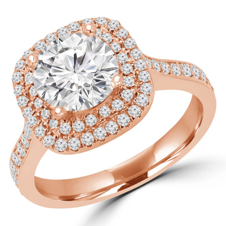 Round Cut Diamond Multi-Stone 4-Prong Double Halo Engagement Ring in Rose Gold - #NICOSIE-R