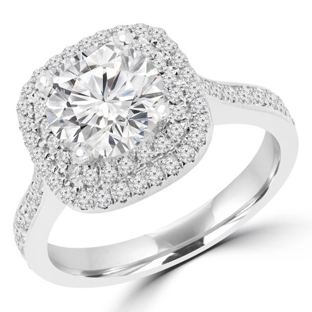 Round Cut Diamond Multi-Stone 4-Prong Double Halo Engagement Ring in White Gold - #NICOSIE-W