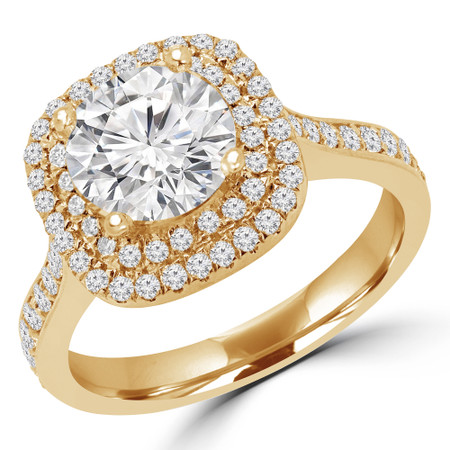 Round Cut Diamond Multi-Stone 4-Prong Double Halo Engagement Ring in Yellow Gold - #NICOSIE-Y