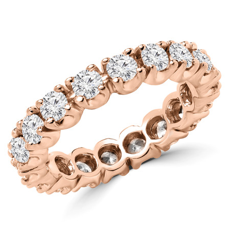 Round Cut Diamond Multi-Stone Full-Eternity 4-Prong Wedding Band Ring in Rose Gold - #1059L-R