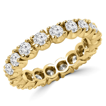 Round Cut Diamond Multi-Stone Full-Eternity 4-Prong Wedding Band Ring in Yellow Gold - #1059L-Y