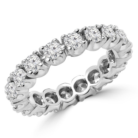 Round Cut Diamond Full-Eternity Shared-Prong Wedding Band Ring in White Gold - #2432LL-W