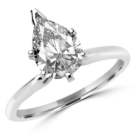Pear Cut Diamond Solitaire 6-Prong Engagement Ring in White Gold - #MAJ-16-W