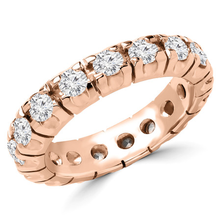 Round Cut Diamond Full-Eternity 4-Prong Wedding Band Ring in Rose Gold - #1656L-R