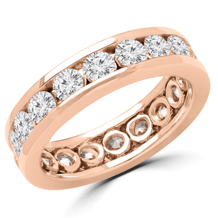 Round Cut Diamond Full-Eternity 4-Prong Wedding Band Ring in Rose Gold - #1982L-R