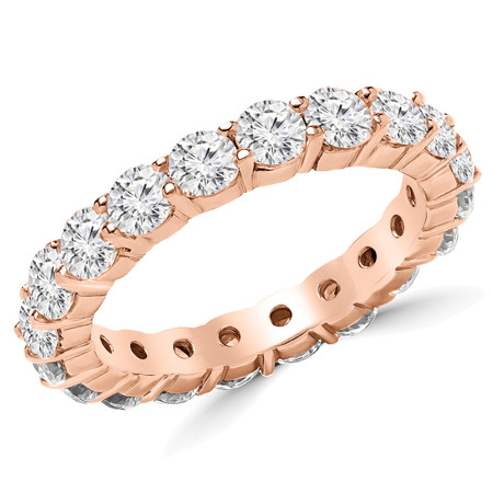 Round Cut Diamond Multi-Stone Full-Eternity Shared-Prong Wedding Band Ring in Rose Gold - #2216L-R
