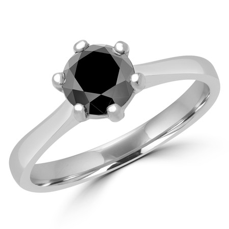Round Cut Black Diamond Solitaire 6-Prong Cathedral-Set Tapered-Shank Engagement Ring in White Gold - #SRD2600-W-BLK