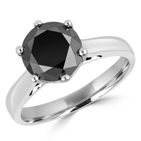 Round Cut Black Diamond Solitaire 6-Prong Trellis-Set Engagement Ring in White Gold - #SRD2042-W-BLK
