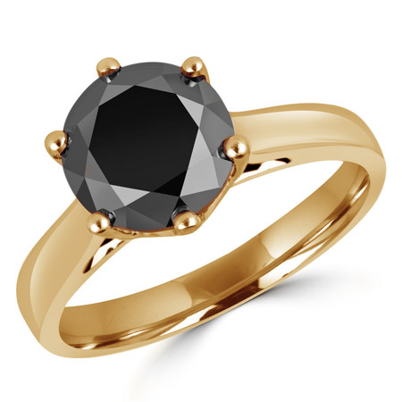 Round Cut Black Diamond Solitaire 6-Prong Trellis-Set Engagement Ring in Yellow Gold - #SRD2042-Y-BLK