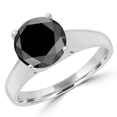 Round Cut Black Diamond Solitaire 4-Prong Cathedral & Trellis-Set Engagement Ring in White Gold - #SRD2065-BLK-W