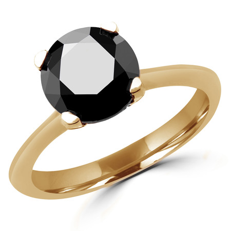 Round Cut Black Diamond Solitaire Tapered-Shank 4-Prong Engagement Ring in Yellow Gold - #SRD2656-BLK-Y