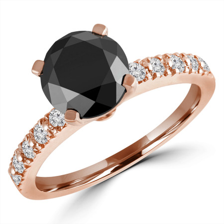 Round Cut Black Diamond Multi-Stone 4-Prong Engagement Ring with Round White Diamond Accents in Rose Gold - #HR10362-BLK-R