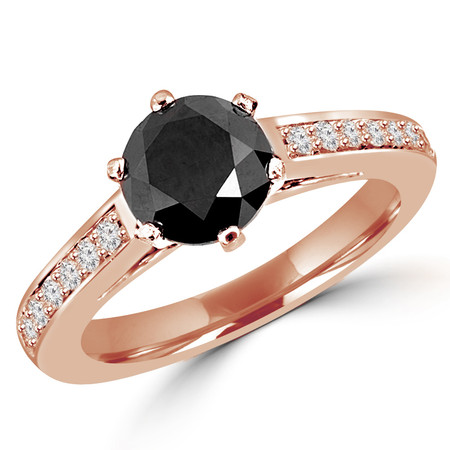 Round Cut Black Diamond Multi-Stone Cathedral-Set 6-Prong Engagement Ring with Round Diamond Accents in Rose Gold - #HDR3362-R-BLK