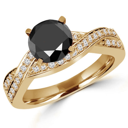 Round Cut Black Diamond Infinity Multi-Stone 4-Prong Engagement Ring with Round Diamond Accents in Yellow Gold - #HR5006-Y-BLK