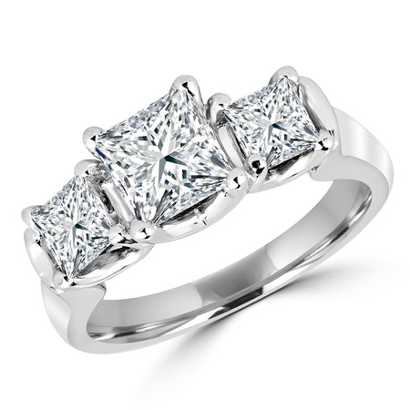 Princess Cut Diamond Three-Stone 4-Prong Engagement Ring in White Gold - #MLK-242-W