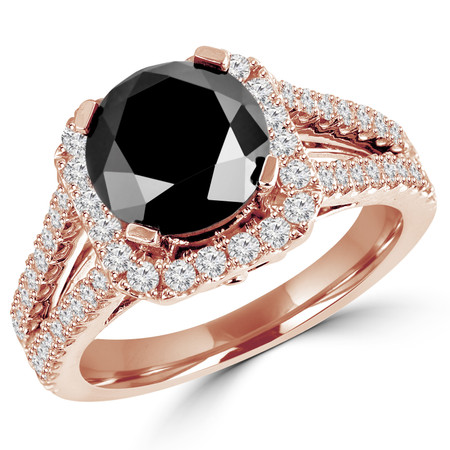 Round Cut Black Diamond Multi-Stone Split-Shank 4-Prong Halo Vintage Engagement Ring with Round Diamond Accents in Rose Gold - #HR6200-R-BLK
